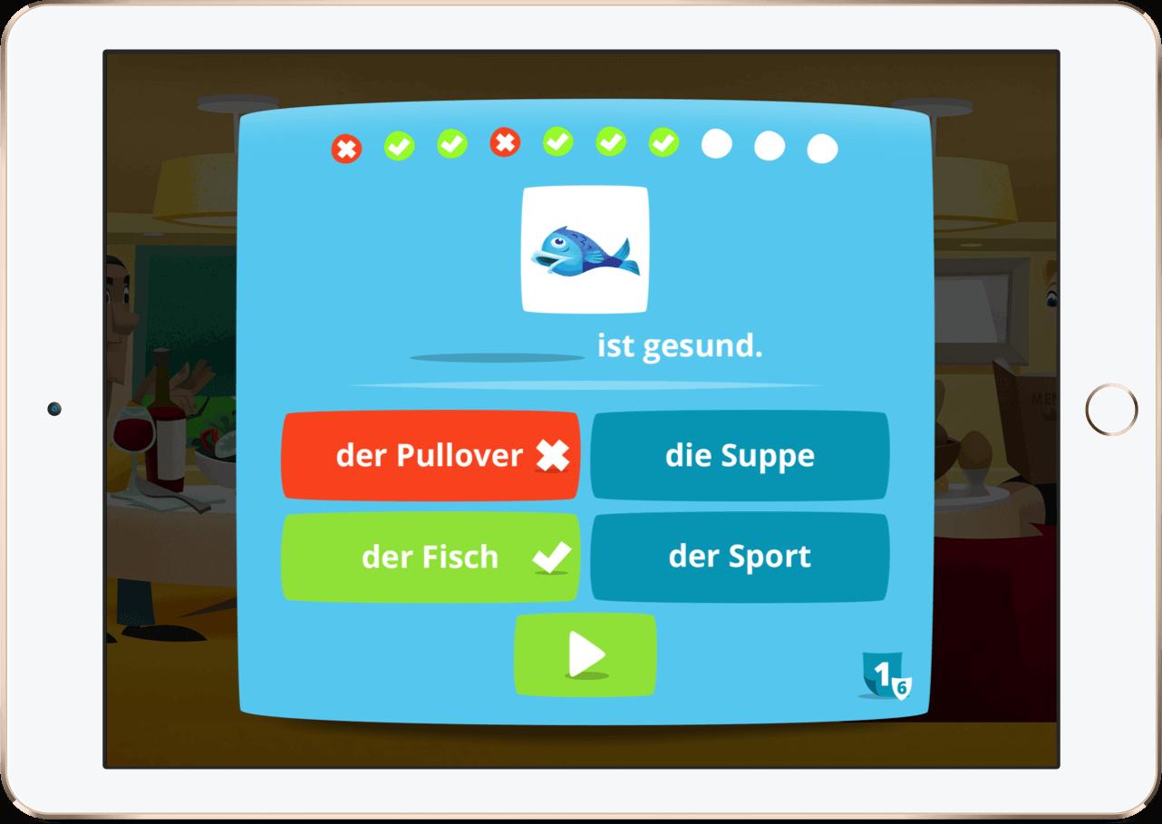 Ein Screen von Lern Deutsch auf einem iPad.
