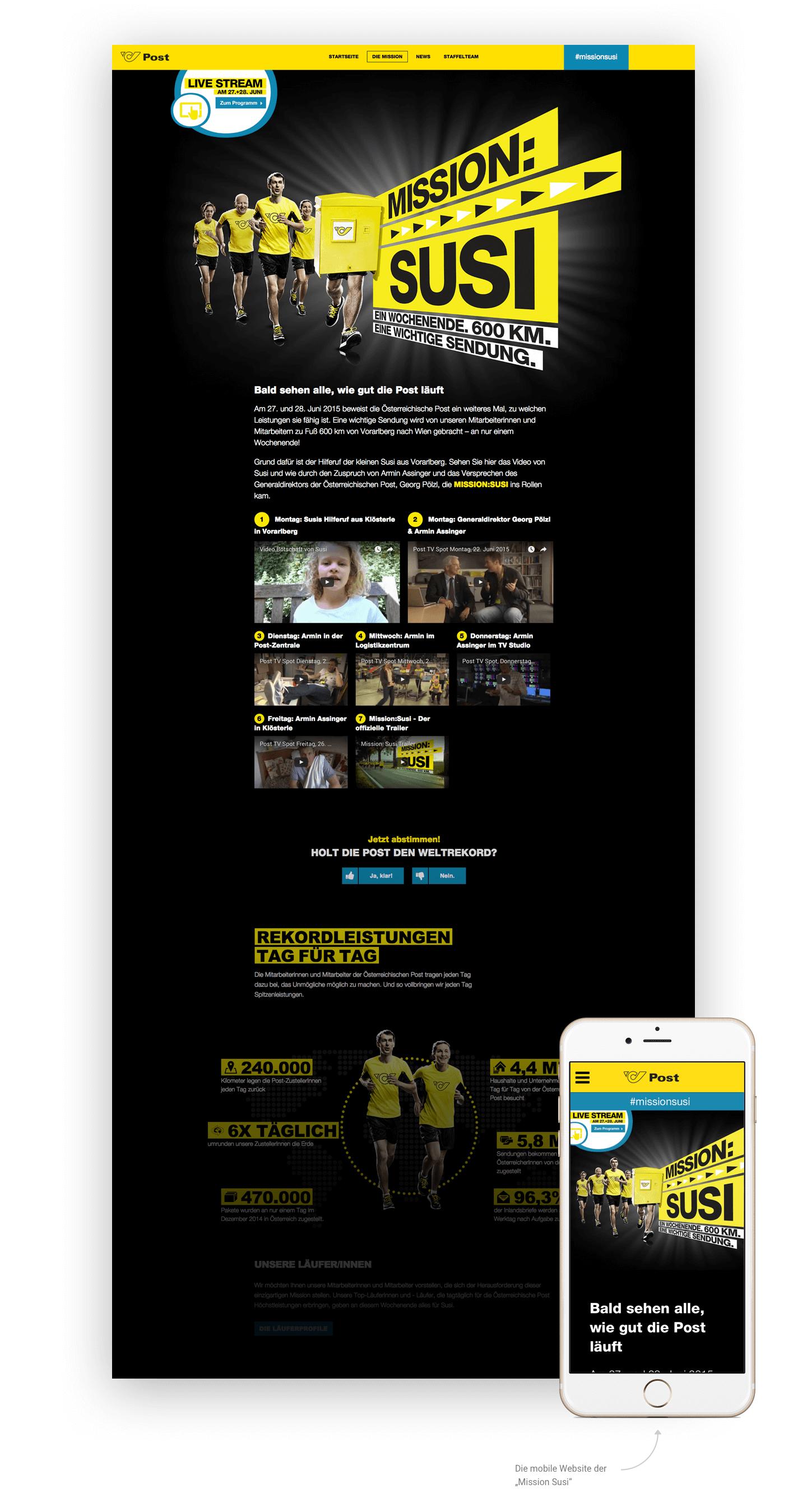 """Die Startseite der Website """"Mission Susi"""" für Desktop und mobil"""